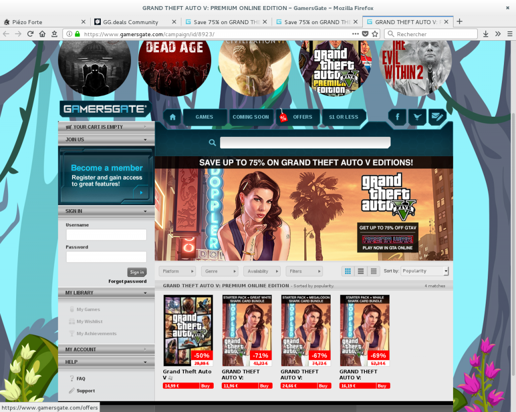 Grand Theft Auto V -75% deal on GamersGate not available